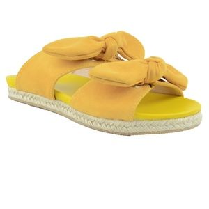 NEW ⭐️ Yellow DOUBLE BOW Suede Espadrille Sandal